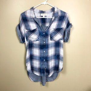 Anthropologie Cloth & Stone Plaid Short Sleeve Top